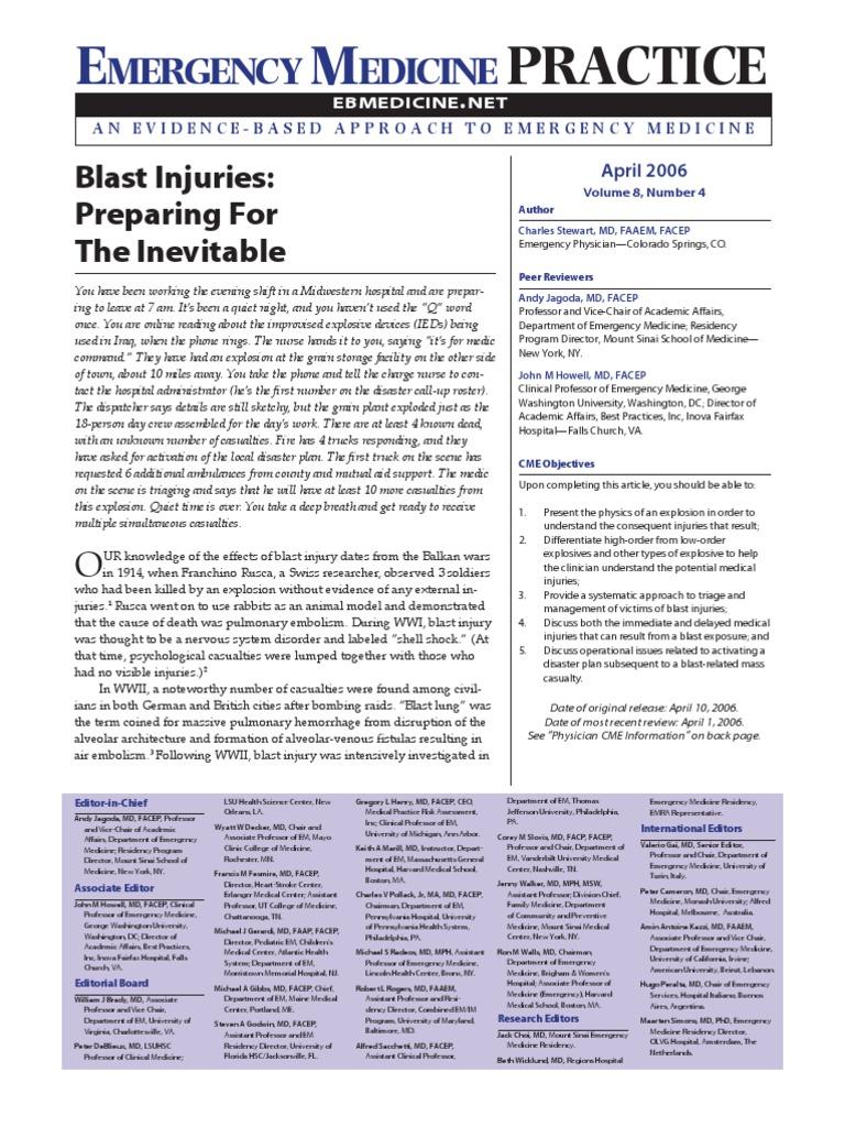 Blast Injuries Preparing the Inevitable | Explosive Material