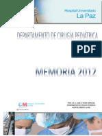 Memoria del Departamento de Cirugía Pediátrica 2012