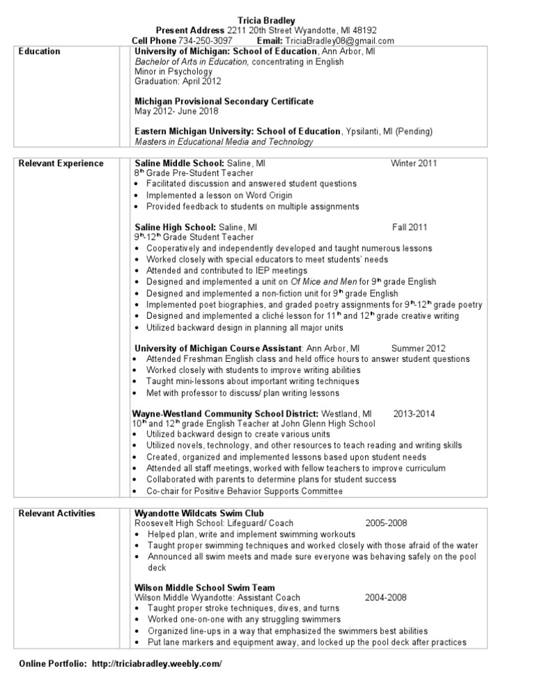 resume secondary school swimming sport
