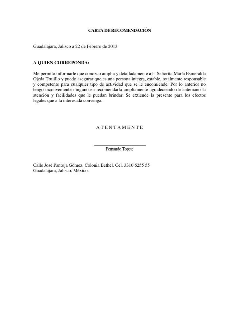 formato de carta de recomendaci u00d3n docx