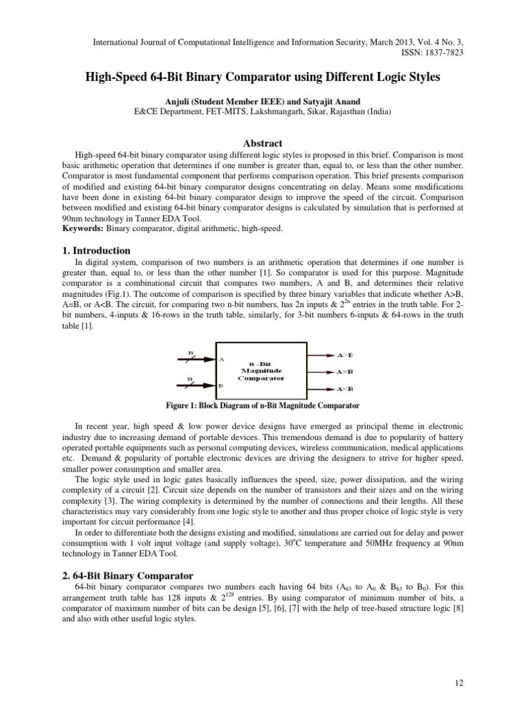 2 Bit Magnitude Comparator Block Diagram Schematic Diagrams 3 Logic Paper High Speed 64 Binary Using Different 4 Circuit