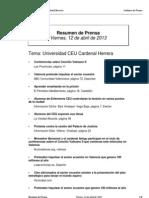 Resumen Prensa CEU-UCH 12-04-2013