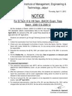 Exam Form of VI (Back) & VIII Sem (Back) Exam 2013 Form Fees (Batch 2008-12 & 09-13)