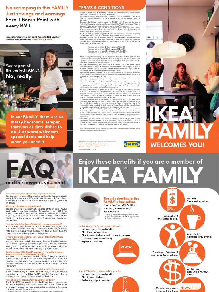 Ikea Family Welcome Pamphlet En Coupon Voucher