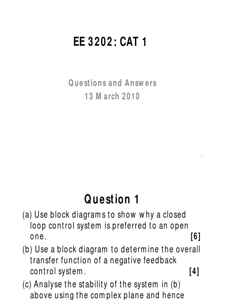 Block Diagram Negative Feedback Control System Electrical Wiring Examples Ele 3202 Cat 1 Solutions Compatibility Mode Pdf Positive Loop