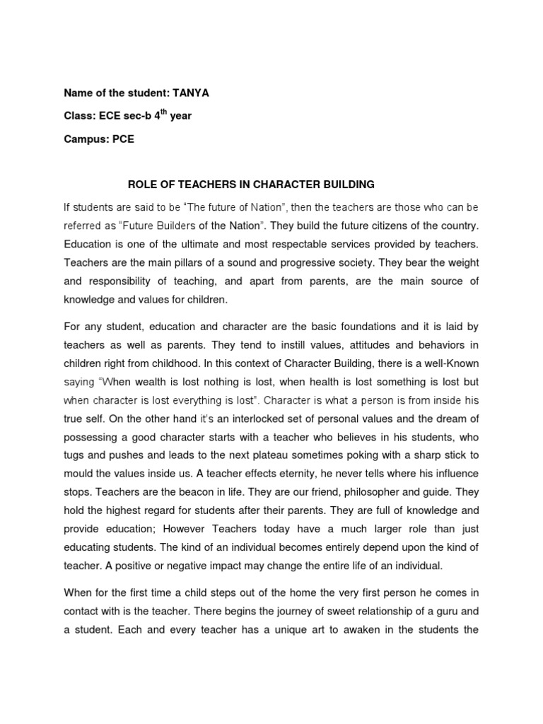 essay on role of teachers in character building value ethics essay on role of teachers in character building value ethics teachers