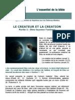 L'essentiel de la bible Leçon 1 Le créateur et la création