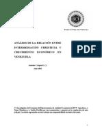 ANÁLISIS DE LA RELACIÓN ENTRE INTERMEDIACION CREDITICIA Y CRECIMIENTO ECONOMICO - MCKINNON Y SHAW