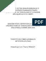 Mémoire DU Toxicologie Toxicité des Fibres Minérales Artificielles Dr FREMIOT Thierry  19.08.2006
