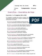 Exercicios da gramatica - 1ª atividade
