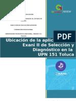 Distribución de grupos aplicación Exani II UPN 151 Toluca