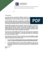 Covenant Bank shareholder letter