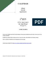 Jewish Calendar 5773