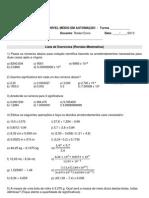 Lista 1 (Revisão de Matemática)