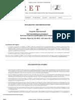 Congreso, Locarno - Declaración y recomendaciones