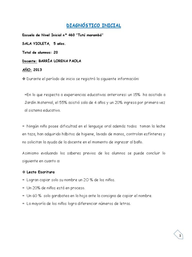 Diagnostico inicial de grupo for Adaptacion jardin maternal