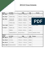 2013 AP Exam Schedule