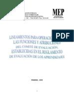 LINEAMIENTOS DE OPERACIÓN COMITÉ DE EVALUACIÓN