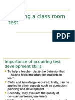 Planning Classroom Test