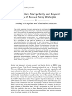 Multilateralism, Multipolarity, And Beyond a Menu of Russia's Policy Strategies (Makarychev and Morozov)