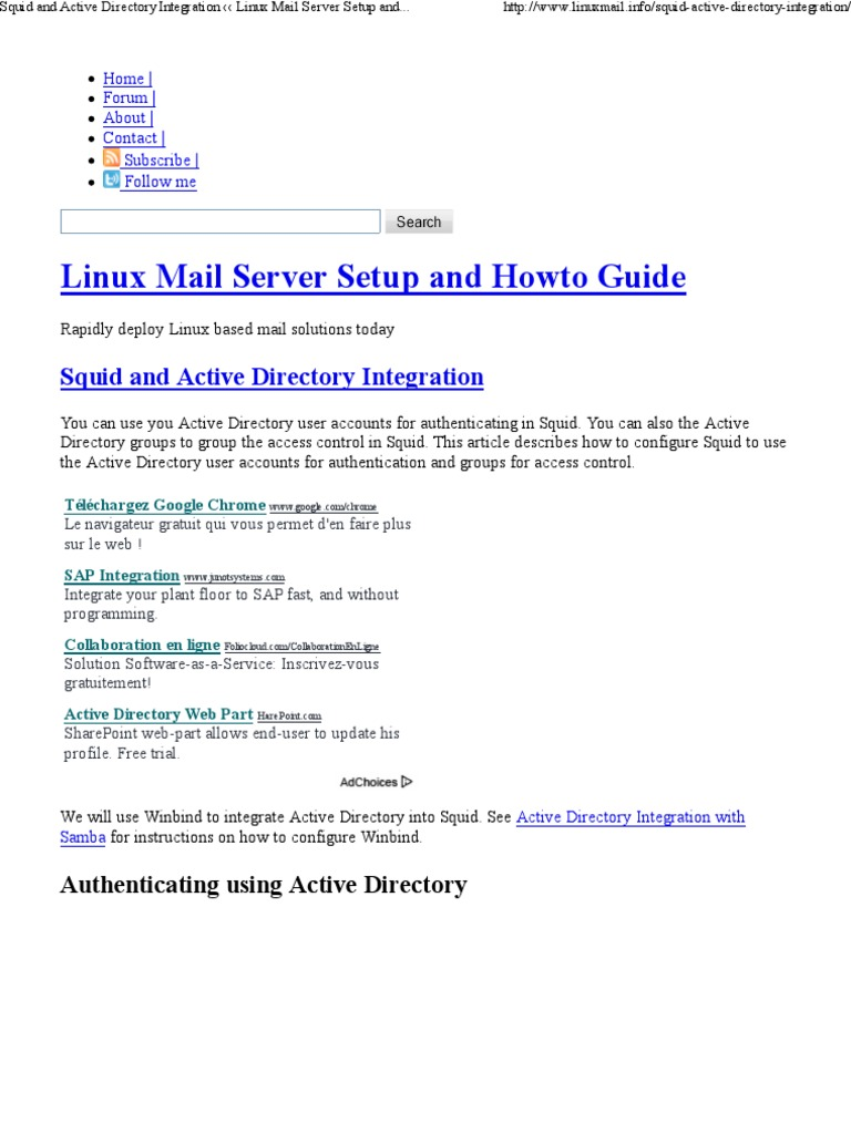 Squid And Active Directory Integration Linux Mail Server Setup And Howto Guide Pdf Active Directory Proxy Server