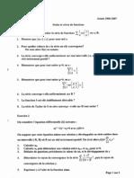 Examen L2 Suites Et séries de Fonctions 2007 1