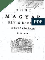 Szabó József - A  hösi magyar név 's eredet méltóságának kivivása 1825.