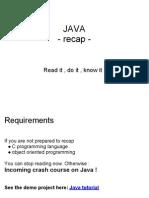 Java Recapitulare