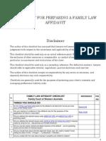 Checklist for Preparing a Family Law Affidavit