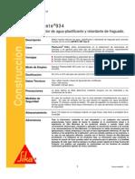 Aditivo Reductor Agua Plastificante Retardante Fraguado Plastocrete 934