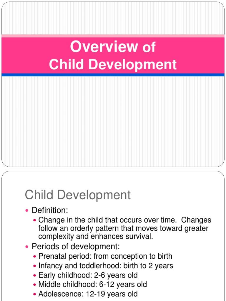 physical development birth to 19 years