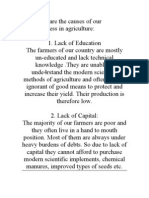 Following Are the Causes of Our Backwardness in Agriculture