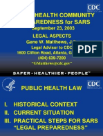 Public Health Community Preparedness for Sars