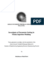 Investigate of Parameter Setting in Plastic Injection Molding
