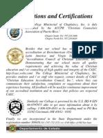 Acreditaciones y Certificaciones Del CMC