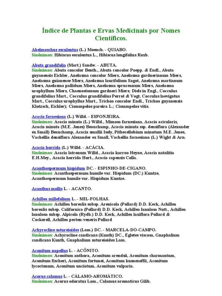 Indice De Plantas E Ervas Medicinais Por Nomes Cientificos Com