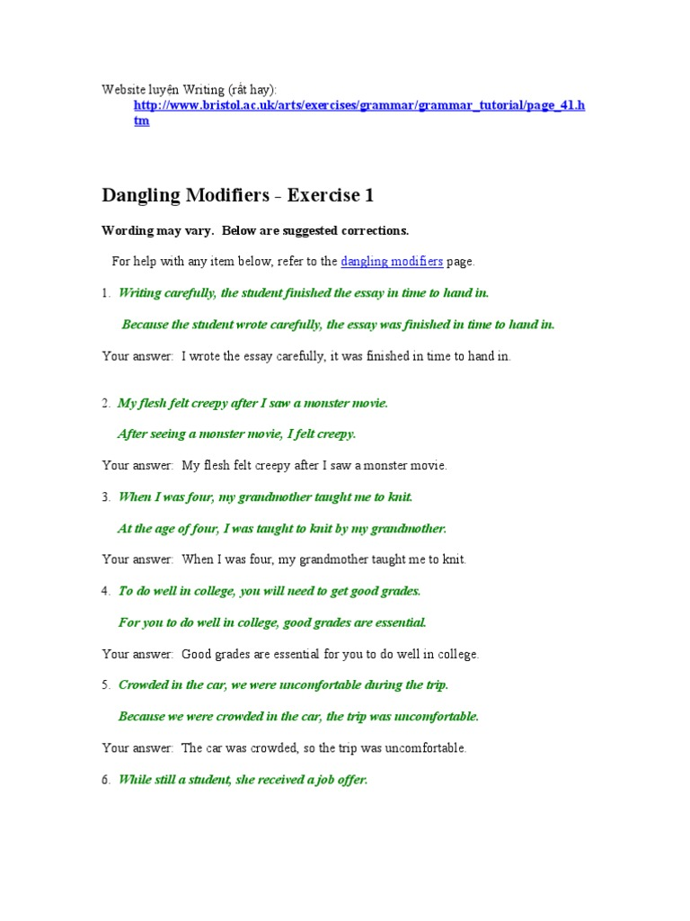 Dangling Modifiers Linguistic Typology – Misplaced and Dangling Modifiers Worksheet