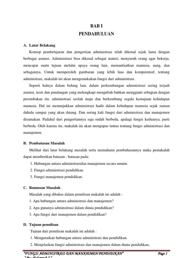 Fungsi Administrasi Dan Manajemen Pendidikan Docx