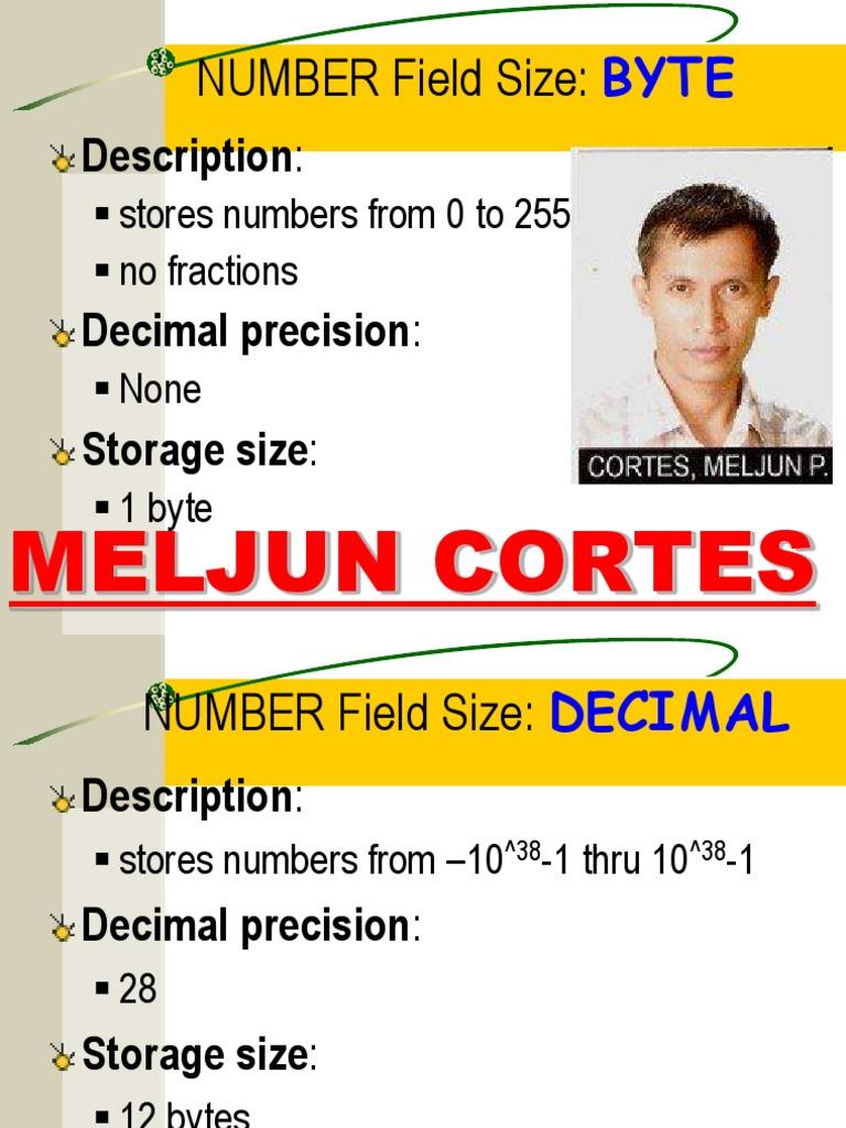 MELJUN CORTES Byte & Number | Byte | Decimal