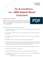 Terms and Conditions of Our Current Promotion