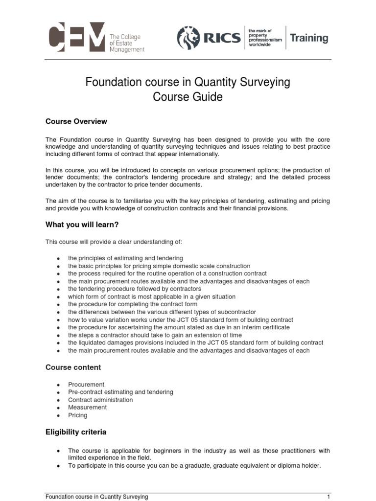 Qsf or Course RICS guide | Procurement (51 views)
