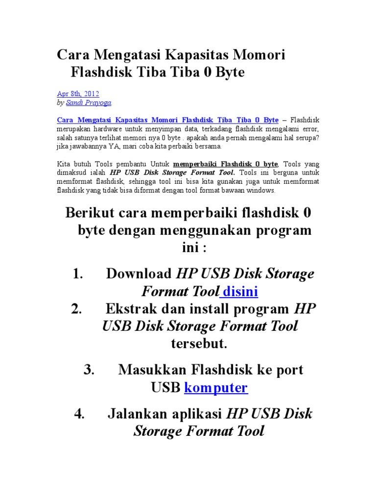 Cara Mengatasi Kapasitas Momori Flashdisk Tiba Tiba 0 Byte