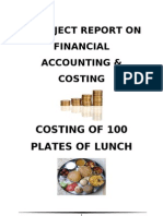 Costing of 100 Plates of Lunch