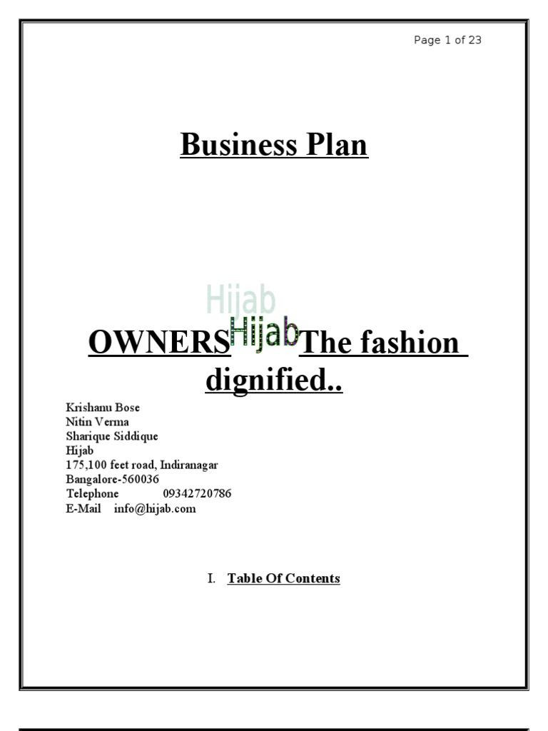 Fashion Wear Business Plan Inventory Retail