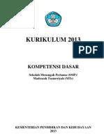 Kurikulum 2013 Kompetensi Dasar Smp Ver 3-3-2013 (Terbaru)