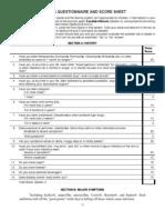 Candida Questionnaire Score Sheet