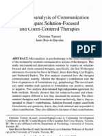 Using  Microanalysis  of  Communication to  Compare  Solution-Focused and  Client-Centered  Therapies Christine  Tomori Janet  Beavin  Bavela 2007 to Moriba Velas