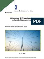 BRIDGE WP01 Miniaturized UHF Tags Based on Metamaterials Geometries