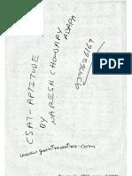 CSAT APTITUDE CLASS ROOM NOTES OF NARESH CHOWDARY ADAPA