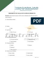 Questionnaire regarding survey